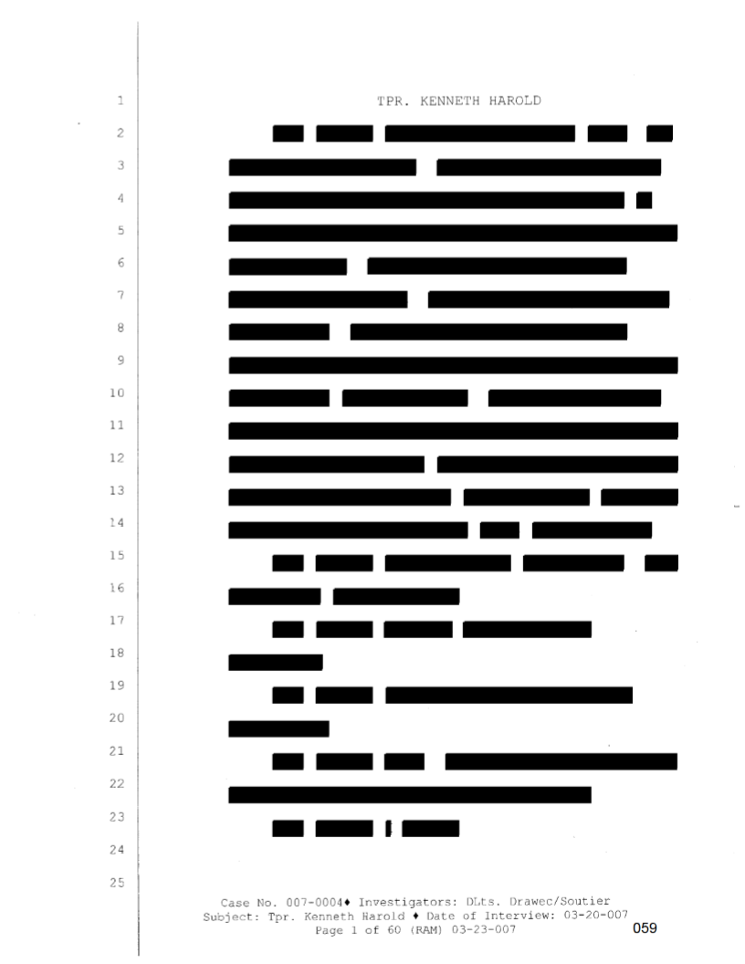 An example of a redacted page from Trooper Kenneth C. Harold's internal affairs file.