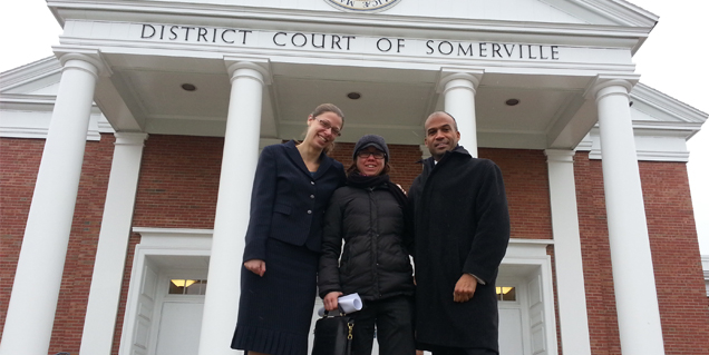 Jessie Rossman, Wenzday Jane, and Carl Williams outside Somerville District Court. (Credit: ACLU of Massachusetts)