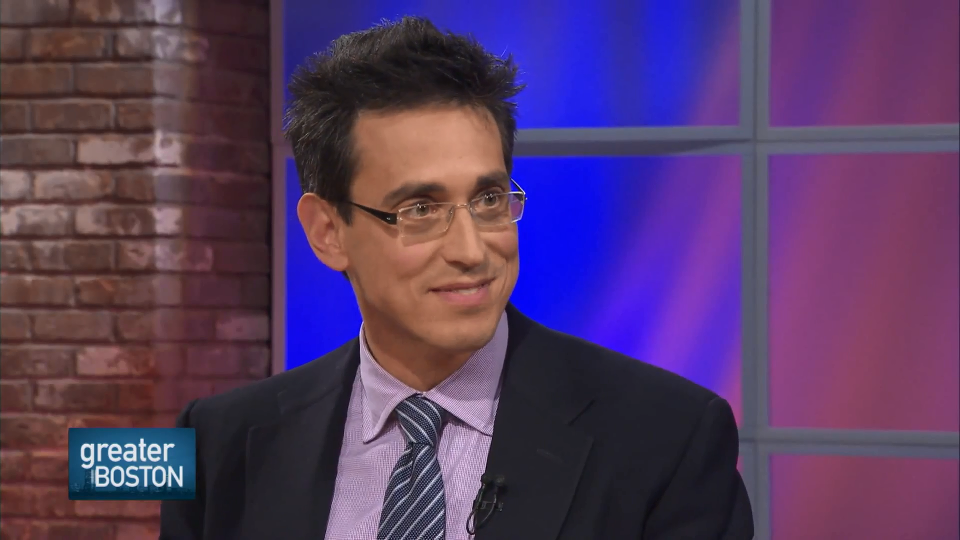 Evan Falchuk discusses his support for an Olympics ballot question during a recent WGBH appearance. (Credit: WGBH)