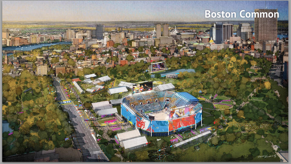 A drawing from Boston 2024 shows a proposed volleyball stadium on Boston Common.