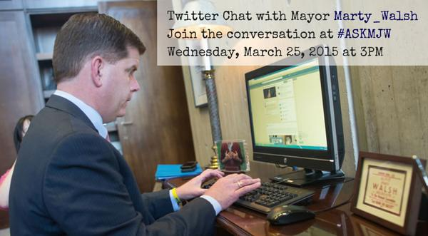 Promotional image for Boston Mayor Marty Walsh's live Twitter chat shows the mayor using... Facebook. (Credit: City of Boston)