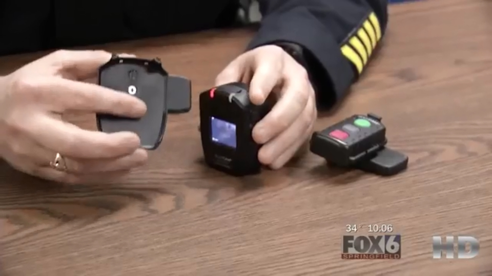 This body camera, which is part of the Gill Police Department's pilot program, is one of just a few police body cameras in use in Massachusetts. (Credit: WGGB)
