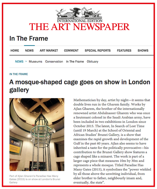A MOSQUE-SHAPED CAGE GOES ON SHOW IN LONDON   http://theartnewspaper.com/news/in-the-frame/abdulnasser-gharem-s-baby-brother-shows-a-mosque-shaped-cage-in-london-gallery/