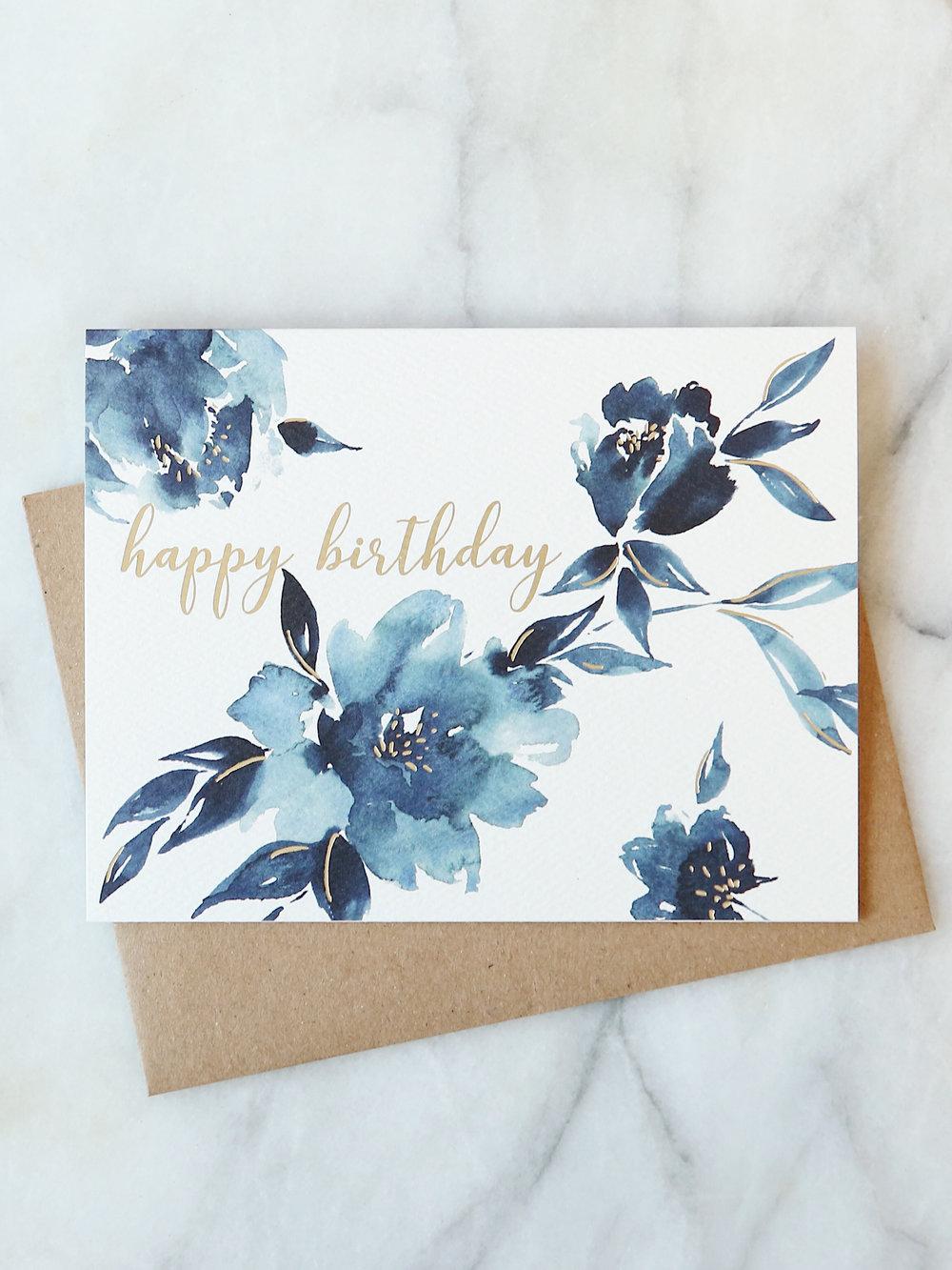 Indigo Floral Birthday Card Abigail Jayne Design