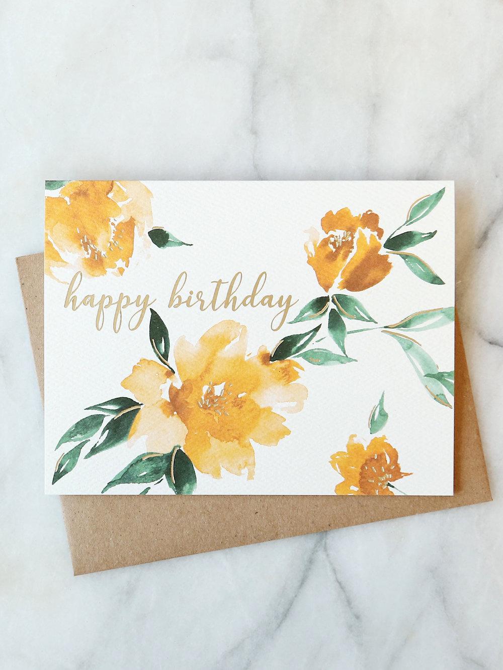 Yellow Floral Birthday Card Abigail Jayne Design