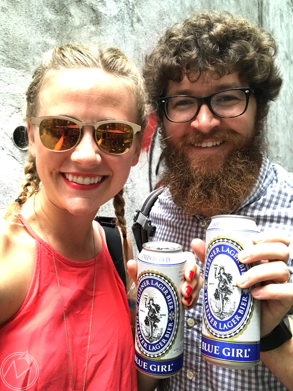 a beer for the birthday girl and her bearded mountain man!