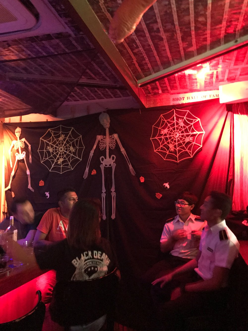 all of the bars were decorated for halloween. we felt right at home!