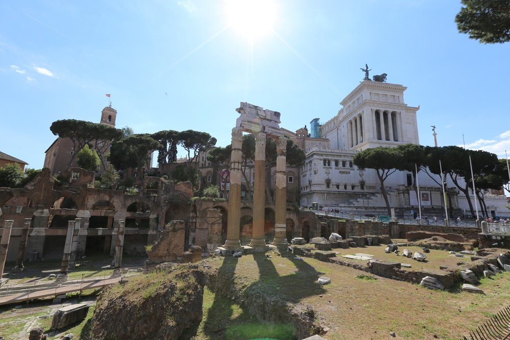 these are the ruins of caesar's forum. it is just mind-blowing how many of these things are still perfectly preserved and still standing. they just don't make things like they used to.