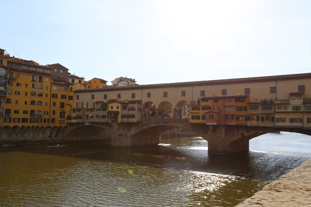 ponte vecchio used to have all kinds of shops and vendors overlooking the arno. now though, it's one fine jewelry shop after another plus some lookout points for that primo selfie.
