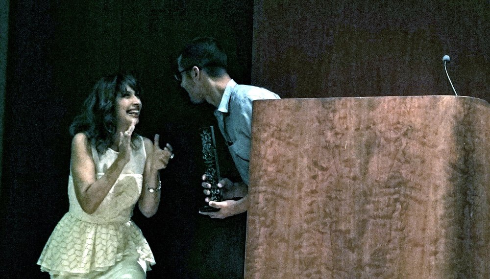 Juampa receiving the Best Short Film Award at The Americas Film Festival of New York 2015. Thanks to John F. Barragan for the picture!