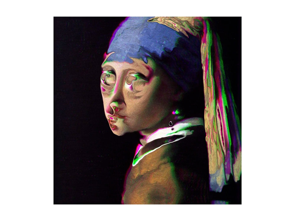 Girl with a Pearl Earring  and some distortion.