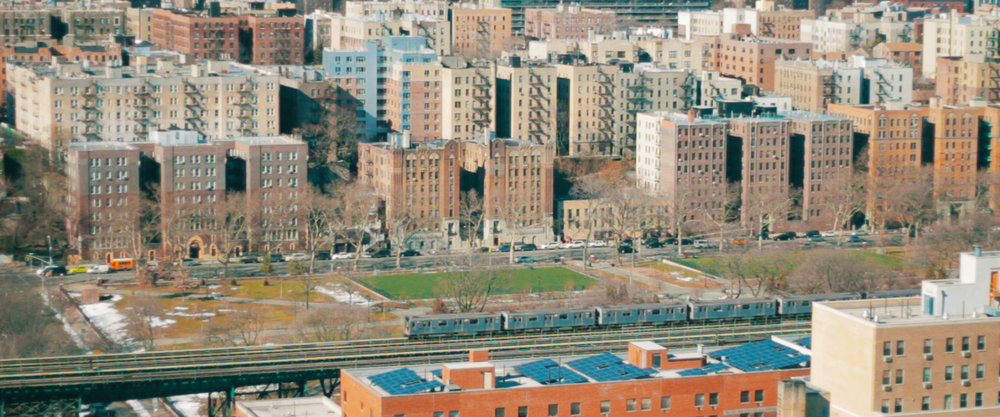 The iconic elevated train tracks of The Bronx.
