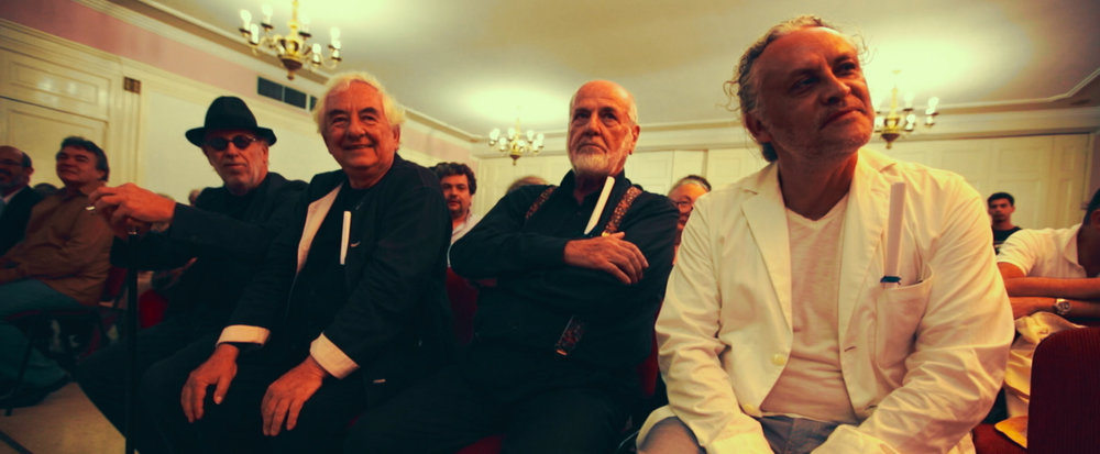 This documentary features some of the world's most prestigious artists from the last few decades, like (left to right) Joseph Kosuth, Daniel Buren, Michelangelo Pistoletto and Gabriel Orozco.