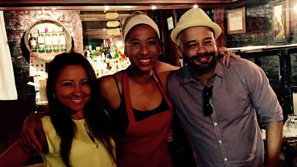 Viviana Guerrero, real-life Cuba Restaurant's manager; Idalmis García, Ángela; and Sergio Pedroso, the restaurant's manager in the film.