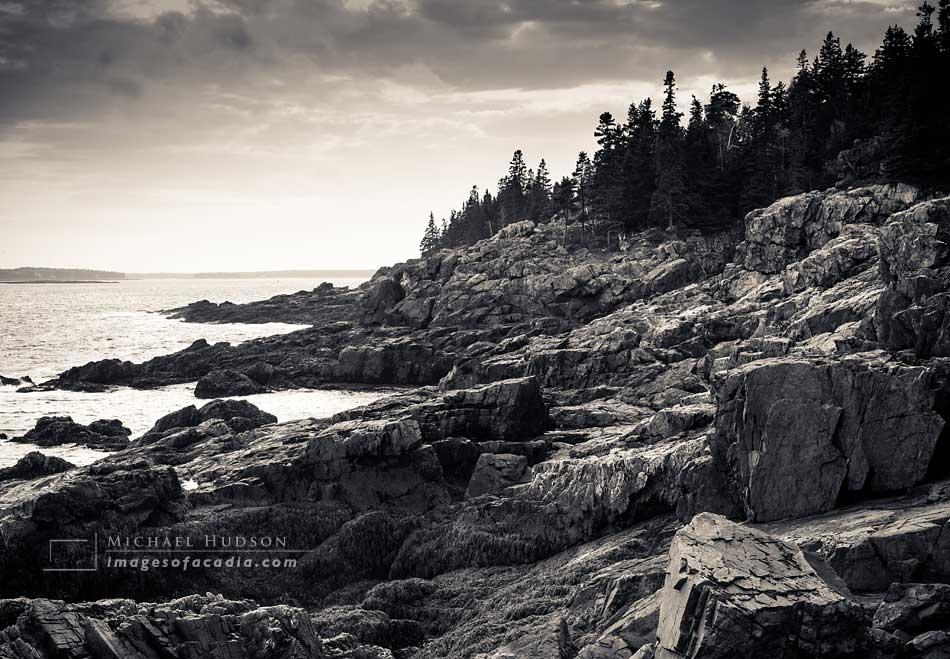 Rocky Maine coastline near Hunters Head, Acadia National Park, M