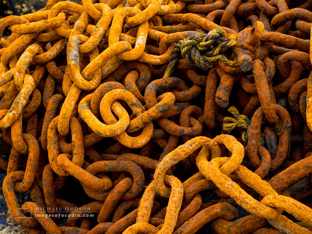 Rusty chains, Northeast Harbor, Mount Desert Island, Maine