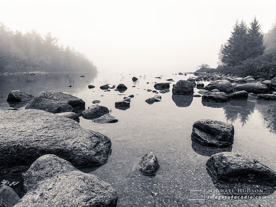 Fog and boulders around Jordan Pond, Acadia National Park, Maine