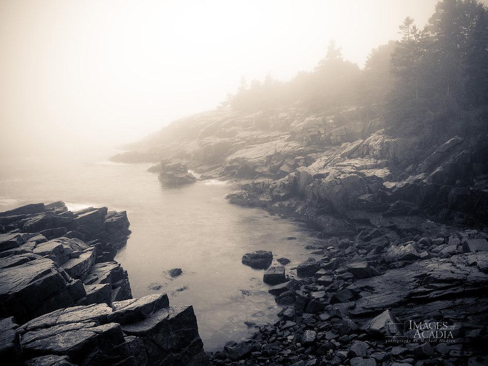 Early morning fog off the coast of Acadia