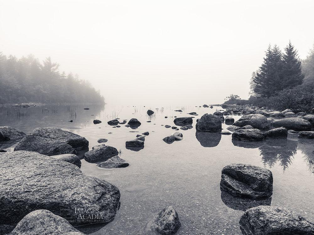 Fog and boulders around Jordan Pond
