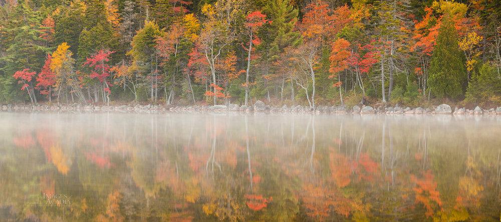 Shoreline of Jordan Pond in Autumn