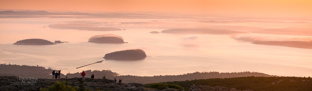Sunrise from Cadillac Mountain, looking down on Frenchman Bay and the Porcupine Islands