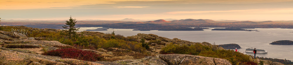 Sunrise from Cadillac Mountain looking down on Frenchman Bay