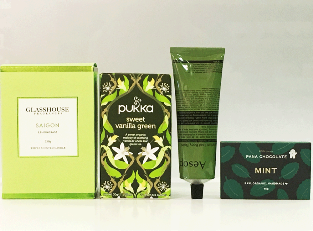 GREEN WITH ENVY   $99    Elegantly boxed premium gift pack includes:   Glasshouse Fragrance Candle 350g, flavour  Pukka Tea 20 tea sachets flavour  Aesop 120ml body balm  Pana Chocolate 45g   * Pana Chocolate has a low melting point, if an issue please ask our consultant for a replacement.   Your Premium brands will be delicately nestled in soft white tissue paper encased in a stunning white matte gift box and white or black satin ribbon.