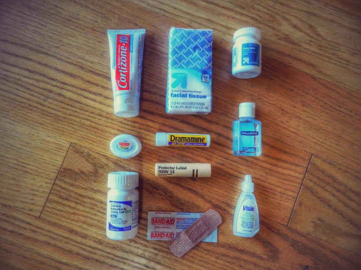 Is better to be cautious.Take a small portion of everything: Insect Bite Repellent,Pepto-bismol, Dramamine (do not take it unless you really need it), Ibuprofen, Sanitizer, Cortizone and Cetrizine (only use if you get a heat rash), protector labial, band aids...