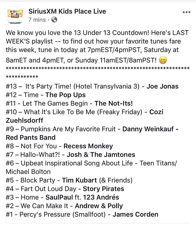 Awwwyea! Our jam Hallo-What?!? Is #7 on this weeks @siriusxm @kidsplacelive countdown. Tune in this wknd to see if we hit the hi note!! #hallowhat? #halloween #kidstunes #kidsrock #fitfam #ska #reggae #kindie #pumpkin