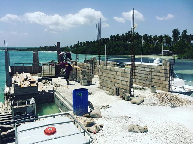 Dock progress! The open door to sustainable hope for La Gonave, Haiti. Center for fish, ice, & gas distribution.