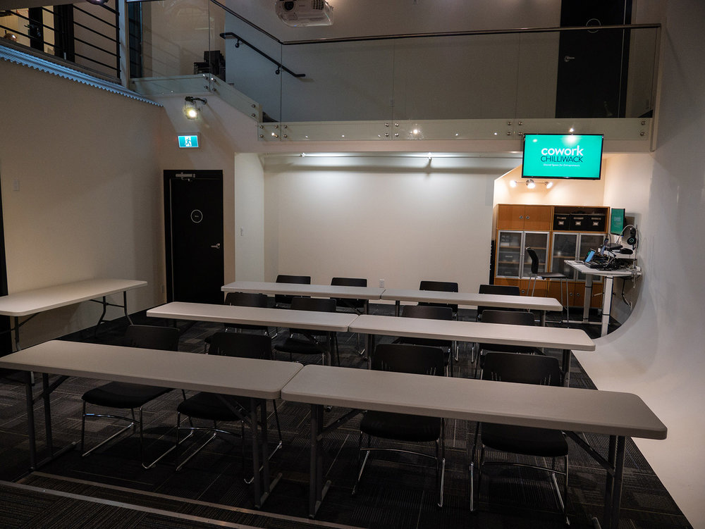 Classroom style set for 12 (can be set for up to 16)