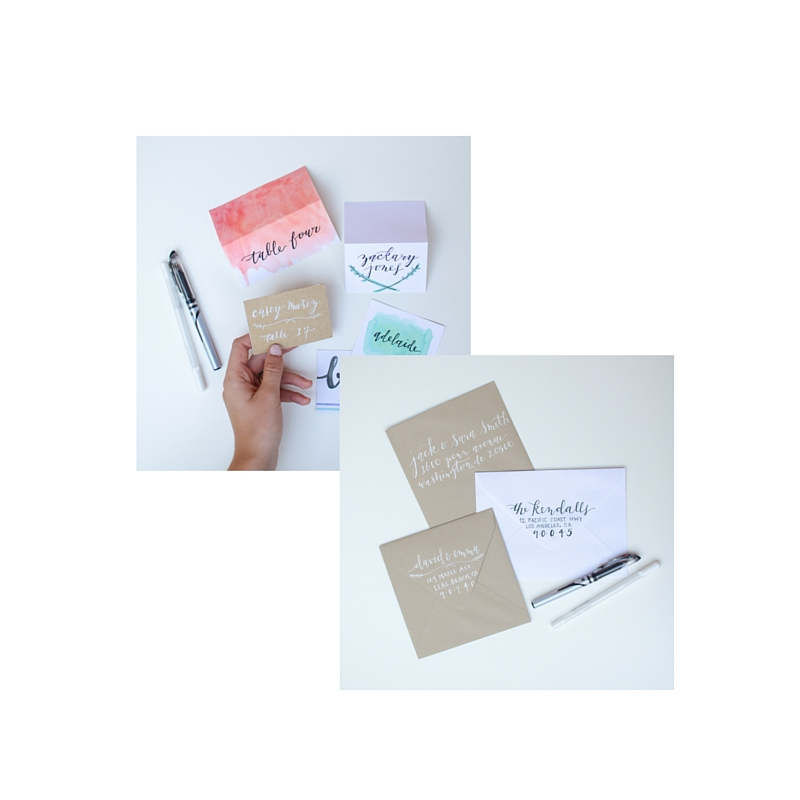 CREATIVE BUNDLE : hand lettered invitations & hand lettered place cards / custom order, 10% off