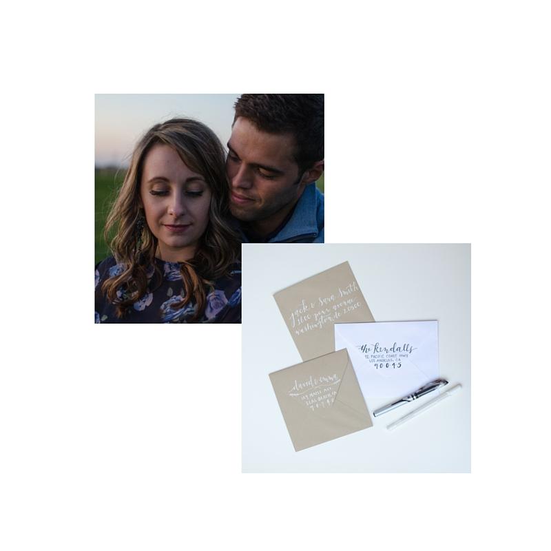 BASIC ENGAGEMENT BUNDLE : engagement session & hand lettered invitations, 10% off