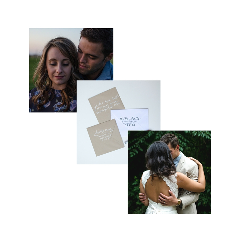 THE WHOLE PACKAGE : engagement session, hand lettered invitations, and wedding session, starting at $2200 + 20% off invitations