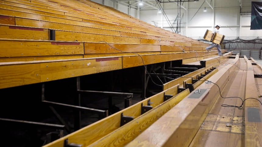 bison sports arena reclaimed wood flooring