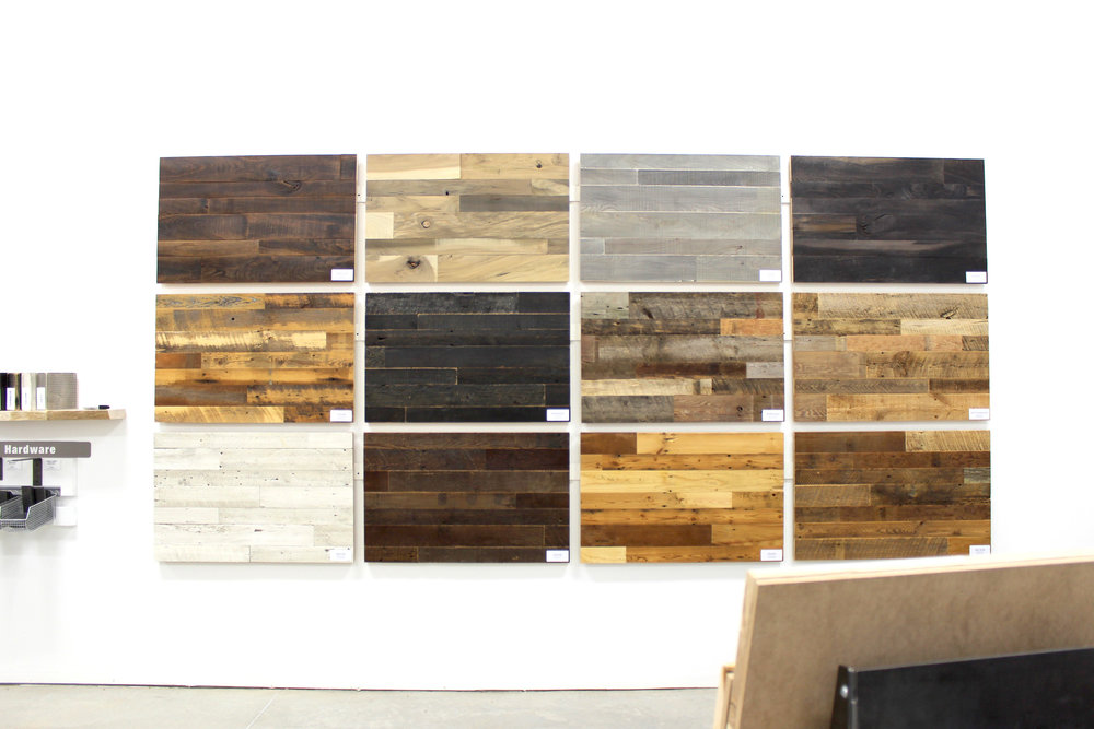 Our standard paneling and flooring samples are on display in our Bismarck showroom - all are sold by the square foot and are processed through our Fargo facility.