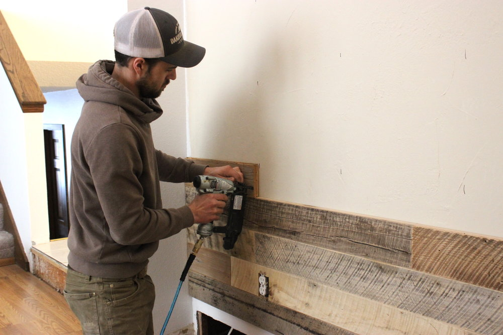 8 How to Install Wood Wall Stagger Paneling.JPG