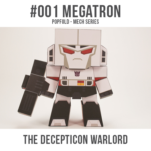 Papercraft imprimible y armable de Megatron de Transformers. Manualidades a Raudales.