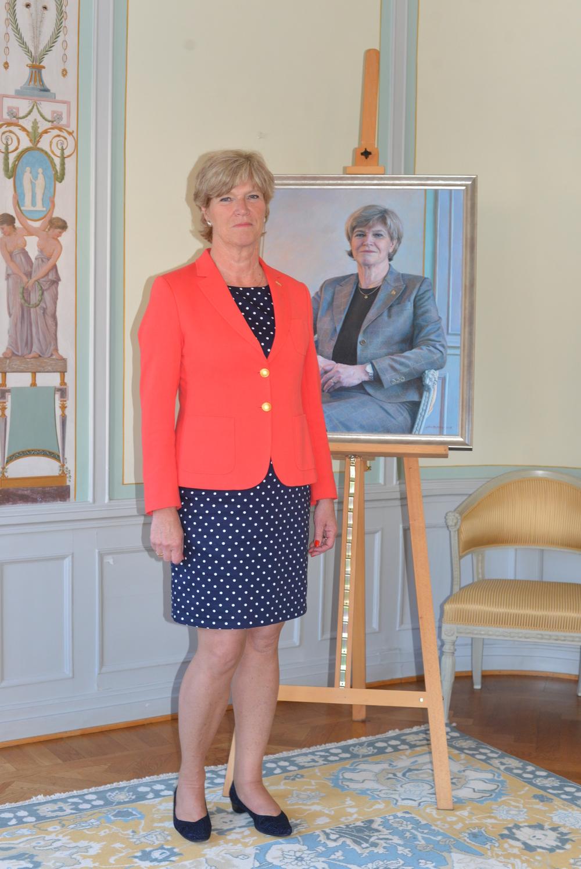 Maria Norrfalk i samband med avtackningen i augusti 2015