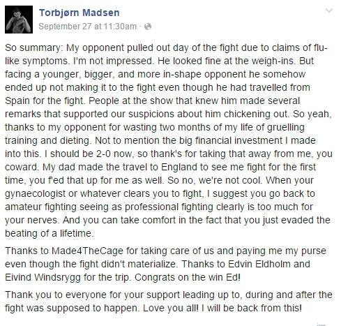 Fra Torbjørn Madsen sin fanside på facebook.