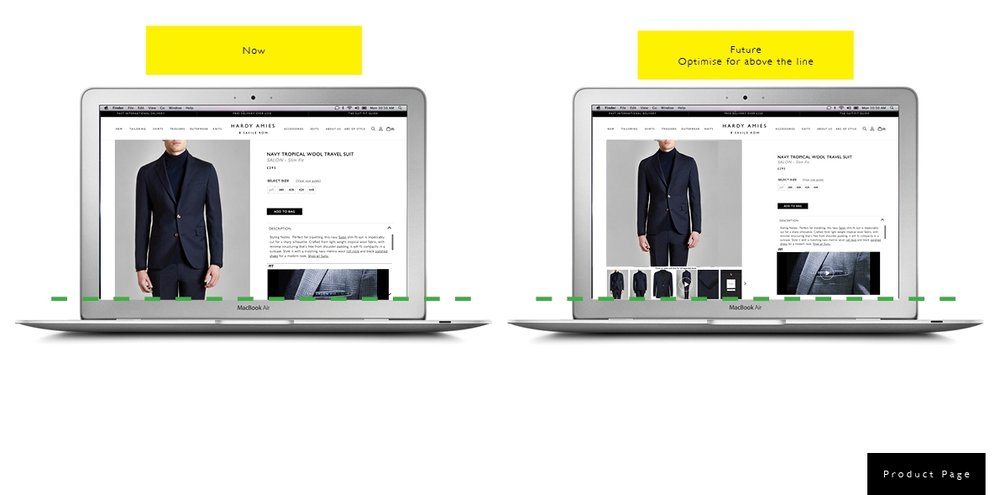 As shown above, optimising the product page above the fold line for optimised user experience.