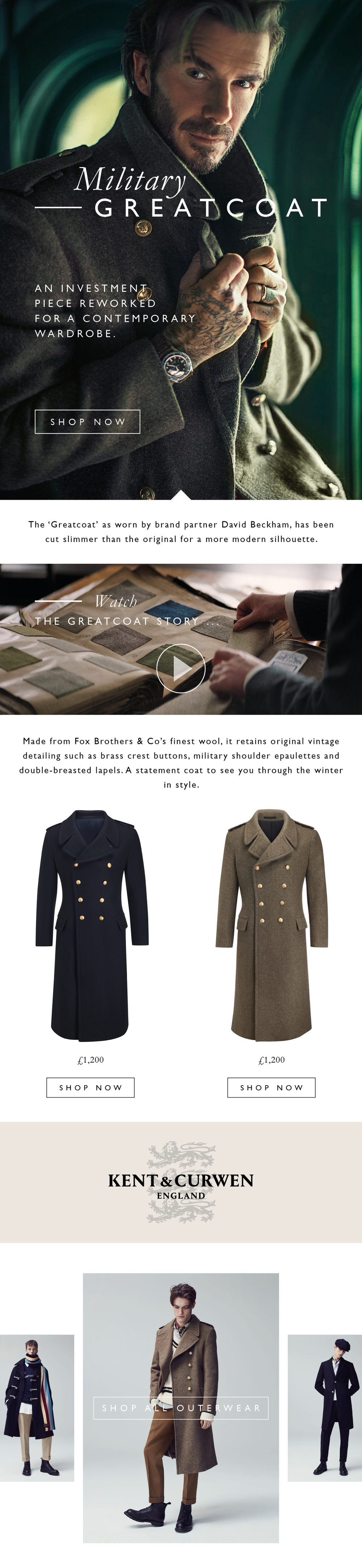 David Beckham appearing in the menswear fashion great coat email design by freelance graphic design based London, Lauren Grace