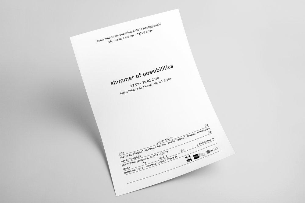 """Affiche pour l'exposition """"Shimmer of possibilities"""",École Nationale Supérieure de la Photographie, Arles 2018. Commissariat : Marie Applagnat, Isabelle Ha Eav, Lucie Liabeuf, Florian Tripoteau."""