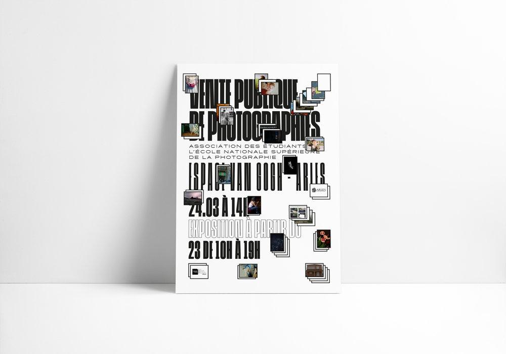 Proposition d'affiche non-retenue pour la vente publique de photographies organisée par l'association des étudiants de l'École Nationale Supérieure de la Photographie, Arles, 2018