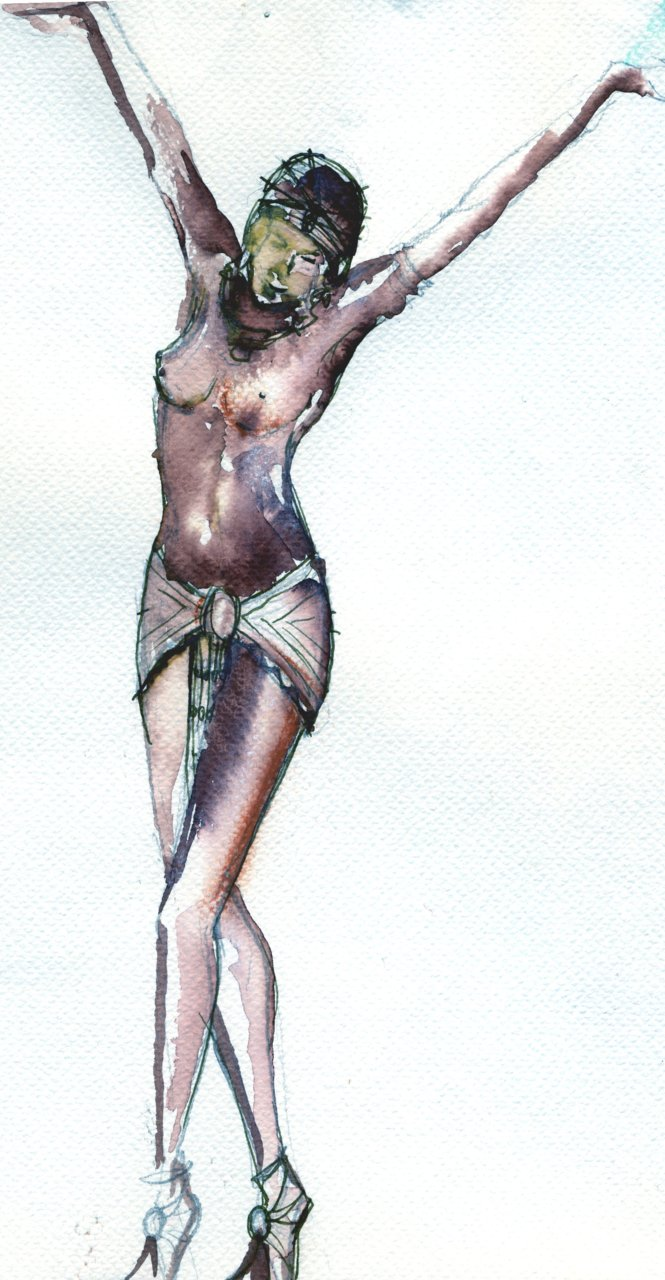 Here is a little ink sketch of an Egyptian dancer, wot I drew