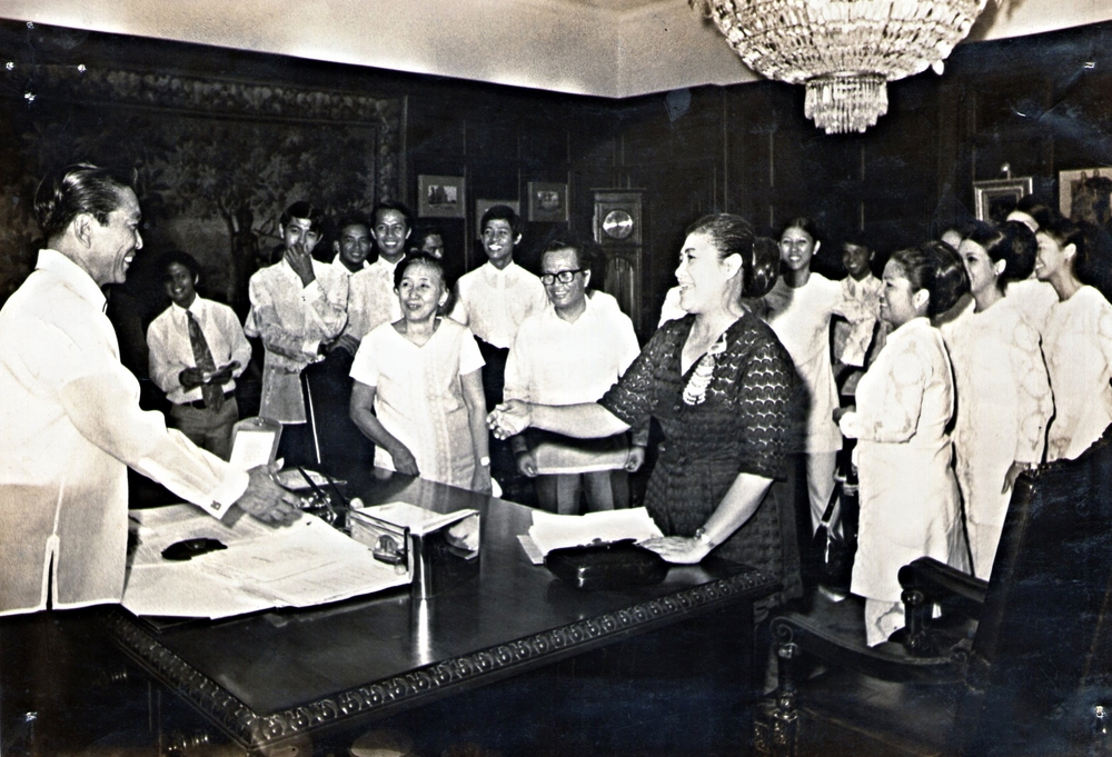 With late President Ferdinand E Marcos during the PBFDT courtesy call of their World Tour 1968 that lasted almost 8 months.