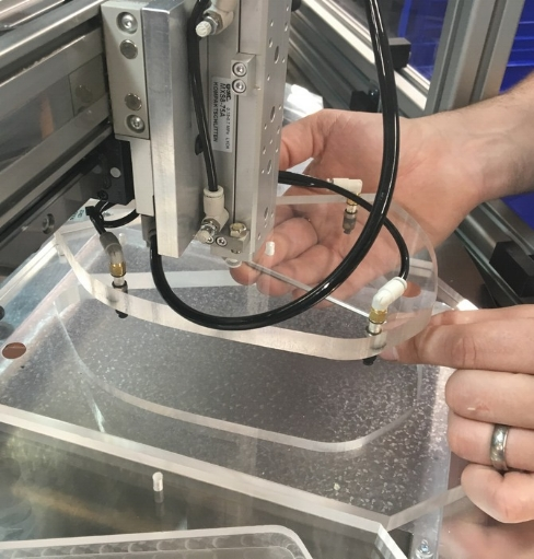 Handling - Various density foams, 16 different parts and applying flexible tape,we like a challenge!Here we used vacuum handling , interchangeable nests and backlit vision to increase capacity.