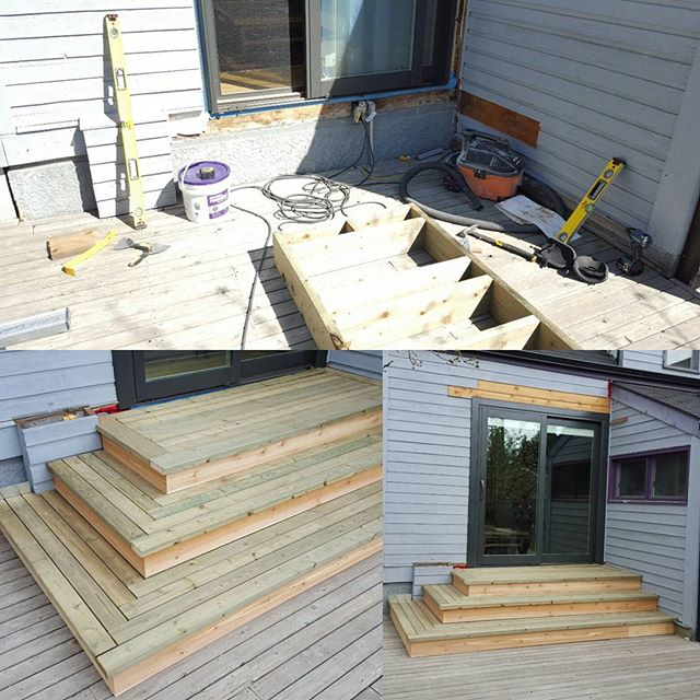 Window bank converted to sliding door, added a landing with wrap around herringbone stairs. #renovations #decks #build #yeg