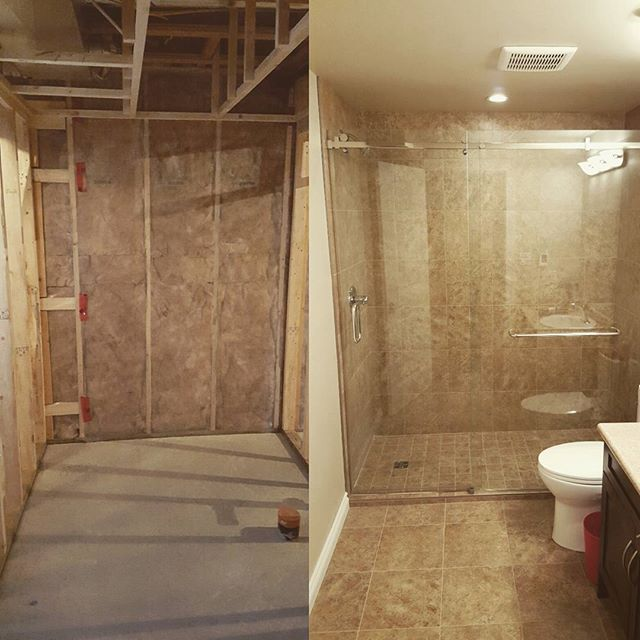 Bathroom before and after, part of a basement development. #renovations #heatedfloorsarethebest #tileeverywhere #yegbuilder #yeg #basementdevelopment