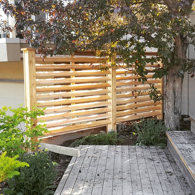 Louvered cedar privacy screen #evolutioncarpentry #carpentry #yegcarpentry #privacyscreen #yegbuilder #customcarpentry